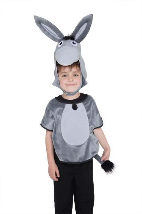 Childs Unisex Donkey Tabard Hood & Tail Costume Book Day Animal Fancy Dress Outfit